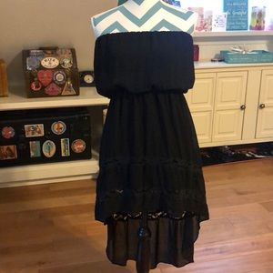 Black sleeveless high low summer dress